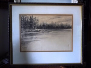 "Original Northern Landscape Watercolor by K.Rooney  ""Shoreline"" Stratford Kitchener Area image 1"
