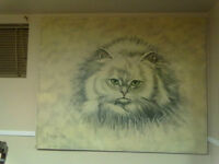 Cat beautiful  hand painting/Chat Peinture 3X4 pieds/feet