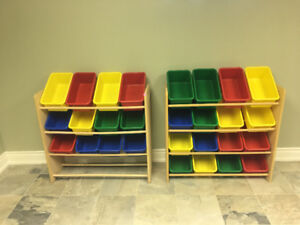 Toy Storage Organizer with colourful Plastic bins for sale!