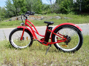 Fat Tire Electric Beach Cruiser Style Step Through Bicycle