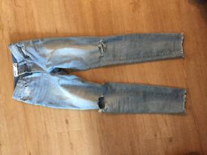 Jeans long sleeve crop top