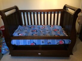 Boori Sleigh Cot Bed and Changing Table