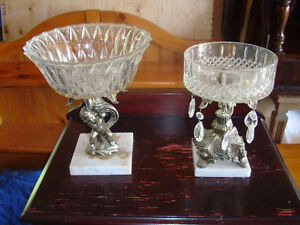 2 Decorative candy dishes with glass bowls - $60 for both