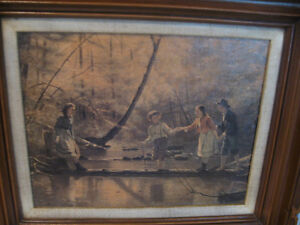 CHARMING OLD VINTAGE FRAMED REPO PAINTING.