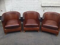 Brown Vintage Soft Aged Leather Tub / Armchairs - £40 Each