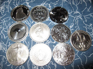 Collector lot of 10x 1 oz World 999+ Pure Bullion Coins & Rounds