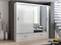 **SAME DAY FAST DELIVERY** BRAND NEW 3 OR 2 DOOR MARSYLIA SLIDING WARDROBE WITH FREE LED + DRAWERS