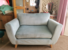 Duck egg blue sofa, love seat, snuggle chair, 2 seater, excellent cond