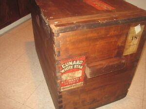 Dovetailed trunk, original shipping labels