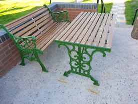 Cast iron garden bench and table