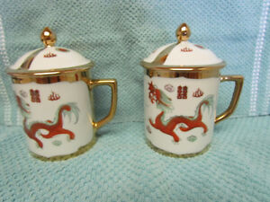 CHINESE DRAGON & PHOENIX HIS & HER TEA CUPS WITH LIDS