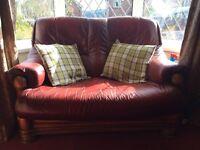 Ox Blood leather & oak sofa & coffee table
