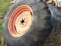 TWO 16.9-30 Tractor tires with liquid calcium