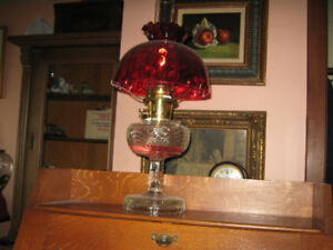 Antique Aladdin Oil Lamp with Red Shade for Sale