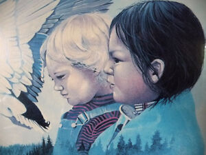 "Metis Wilderness Lithograph by Eddie Le Page ""Blood Brothers"" Stratford Kitchener Area image 4"