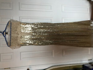 L@@K Gold Sequin Long Sparkly Bridesmsid Prom Dress NEW