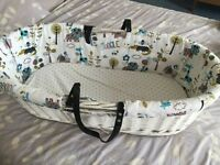 White Moses basket with handmade cover