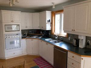 Armoire de cuisine, four, poêle, lavabo, robinet et micro-onde