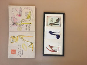 Set of 3 framed shoe pictures