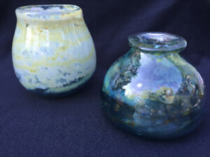 VINTAGE HAND-BLOWN GLASS ART (x2) BY RENOWNED ARTIST