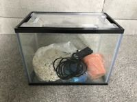 Small fish tank with pump and ornaments