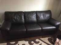 Brown leather 5ft sofa bed