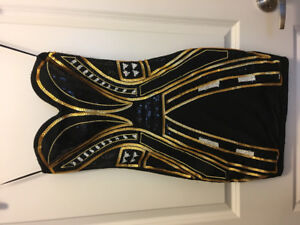 H&M Black and Gold Sequined Strapless Dress