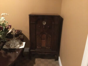Antique Radio, side tables , mirror, brass tables, foyer table