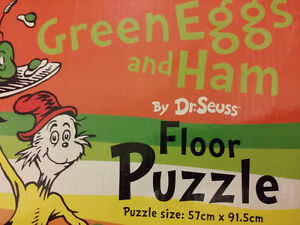 ▀▄▀Dr. Seuss Jigsaw Puzzles:Floor Puzzle.Green Eggs and Ham+Book