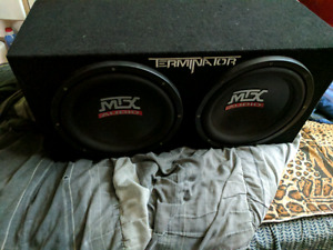 Dual 12in MTX  Terminator Subwoofers in enclosed box 225$ OBO