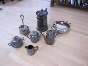 Assorted antique silverplate pewter diningware