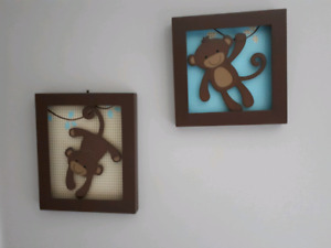 Lambs and Ivy giggles monkey decor