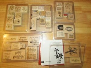 Stampin' Up wood-mounted stamp sets - many retired/hard to find!