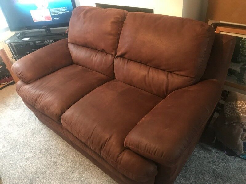 Brown faux leather sofa 3 and 2 seater