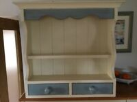 Painted and waxed wall shelf unit