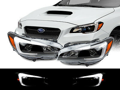 Black Projector - STi Style LED White Bar Black Housing Projector Headlight for 15-18 Subaru WRX