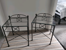 2 x Glass and Metal Bedside Tables