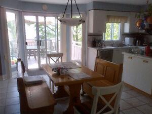 Kitchen table set, lights, pot hanger