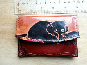 Leather elephant wallet from India
