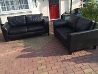 Black leather sofa set 3+2 seater
