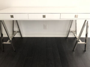 23.5 x 60 inch Glossy white and stainless steel office desk