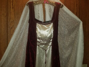 Women's wine velvet and white satin gown
