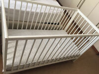 Ikea cot with mattress and waterproof cover