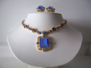 Choker & Earrings Set, Blue Stone