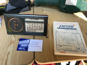 FRITSCH PHARMACY KITCHENER PERPETUAL DESK CALENDAR + RECEIPTS