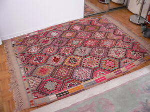 Genuine Hand Made Vintage Turkish Kilim Area Rug