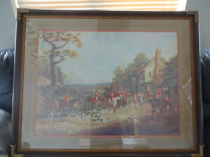 gorgeous print on wood frame great for a living room approximate