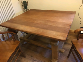 Wooden table handmade and two chairs