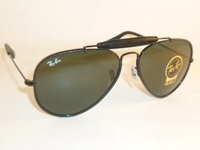 New  RAY BAN Aviator Outdoorsman Black Leather  RB 3422Q 9040  G-15 Green (Ray Ban Aviators Colored Lenses)