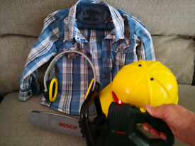 Halloween Kids toy chainsaw, hard hat, ear defenders and shirt set.